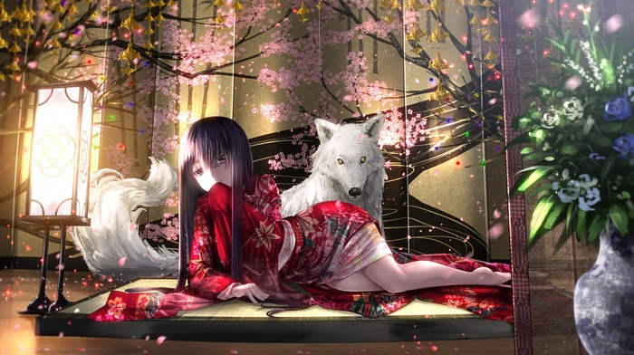 flowers, traditional clothing, wolf