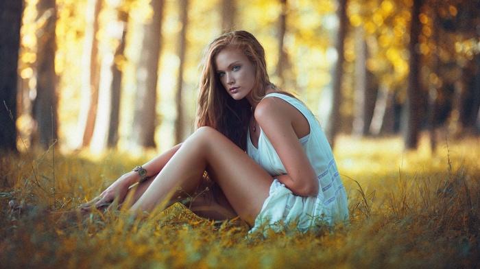 white dress, girl, long hair, dress, depth of field, girl outdoors, legs, blonde, blue eyes