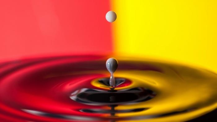closeup, artwork, water drops, red, yellow, circle, ripples, photography, macro