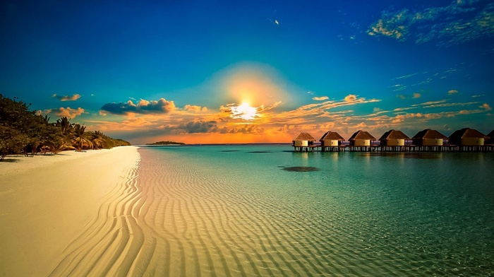 summer, tropical, bungalow, sunset, island, water, sand, nature, resort, beach, palm trees, calm, clouds, sea, landscape