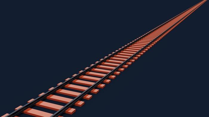 3D, Blender, modern, simple, abstract, CGI, train, minimalism, orange, digital art, render, simple background, railway