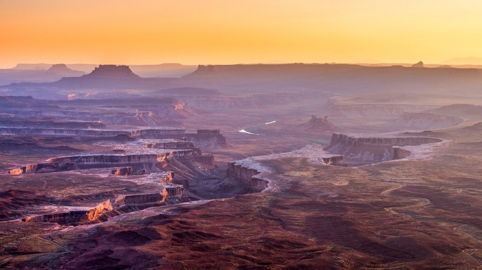 canyon, Grand Canyon, mist, desert, erosion, USA, Utah, panoramas, river, landscape, sunrise, clear sky, nature