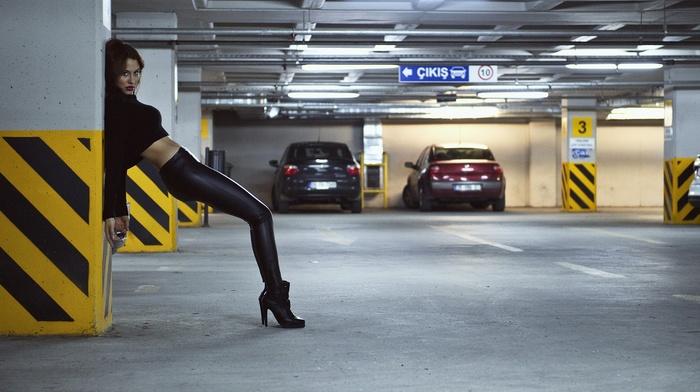 parking lot, model, high heels, Black clothes, girl