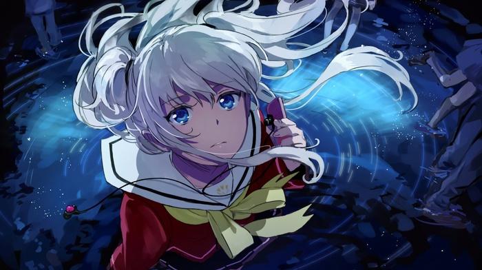 anime girls, blue eyes, school uniform, anime, Charlotte anime, Tomori Nao, artwork, white hair