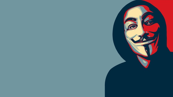 Anonymous, face, mask, minimalism, Guy Fawkes mask, Hope posters