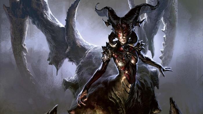 fantasy art, drawing, magic the gathering, horns, digital art