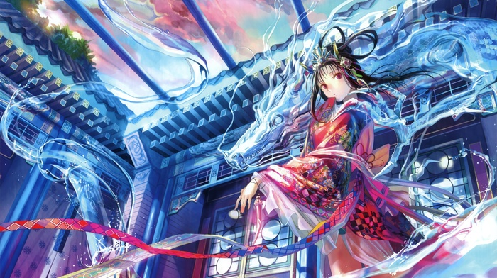 Black Hair Anime Girls Japanese Clothes Kimono Red Eyes Manga