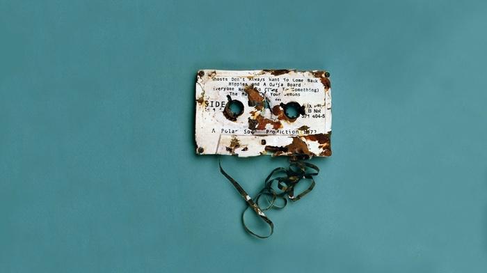 digital art, tape, destruction, text, minimalism, vintage, rust, simple background, blue background, cassette