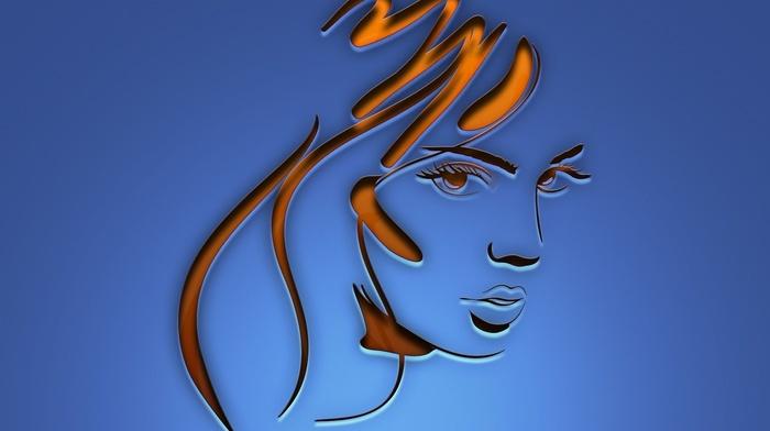 face, lines, minimalism, simple background, long hair, girl, blue background, digital art