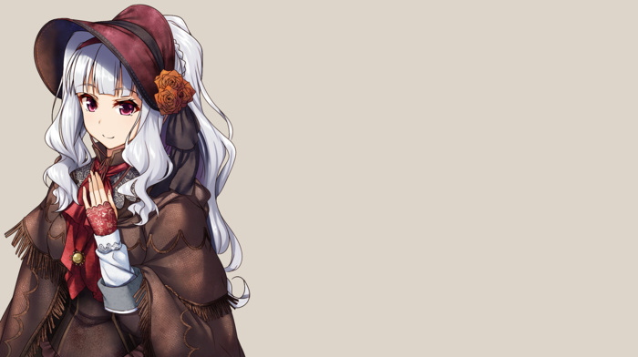 pink eyes, ascot, crossover, THE iDOLMSTER, gauntlets, lolita fashion, anime, silver hair, Shijou Takane, dress, Plain Doll, bonnet, anime girls, Bloodborne, cape, long hair, gray background, simple background