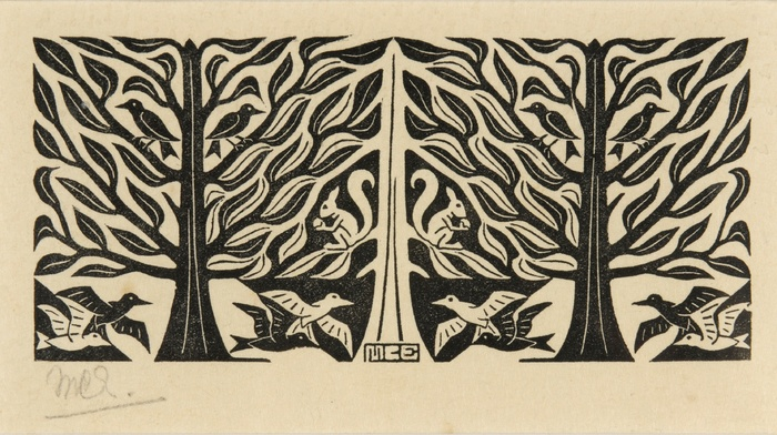 symmetry, monochrome, drawing, artwork, sketches, optical illusion, birds, M. C. Escher, signatures, squirrel, leaves, animals, trees