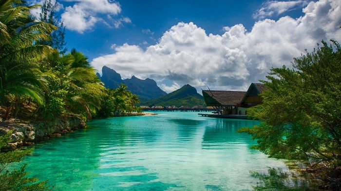 Vacations, island, resort, sea, water, Bora Bora, landscape, summer, mountain, beach, French Polynesia, nature, palm trees, clouds, tropical, turquoise