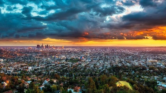 cityscape, landscape, panoramas, urban, skyscraper, sunset, clouds, california, los angeles
