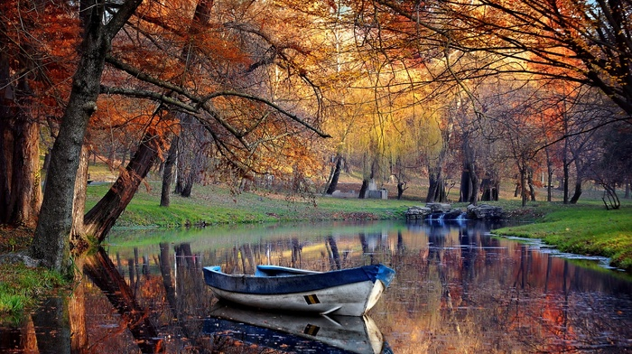 boat, nature, landscape, fall, trees, park, water, grass, reflection, pond