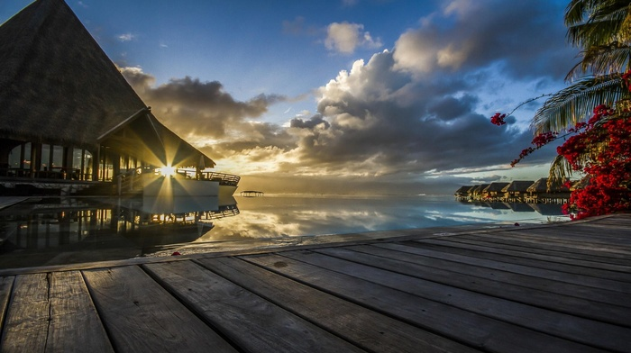 sunset, French Polynesia, tropical, resort, sun rays, palm trees, Tahiti, Vacations, nature, bungalow, sea, clouds, summer, flowers, walkway, landscape