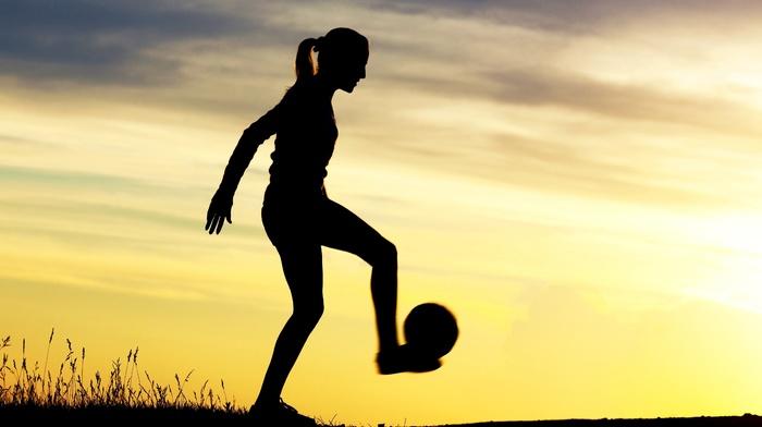 sports, silhouette, girl, girl outdoors, soccer