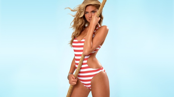 model, ropes, swimwear, blonde, simple background, Kate Upton, striped swimsuit, One, piece swimsuit, girl