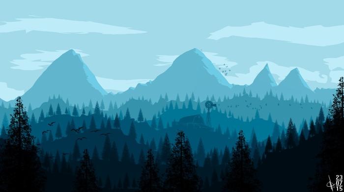 forest, mountain pass, DeviantArt, building, windmills, trees, birds, mountain