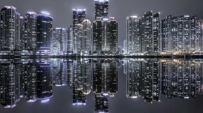 urban, modern, night, South Korea, lights, skyscraper, building, cityscape, reflection, landscape, water, architecture