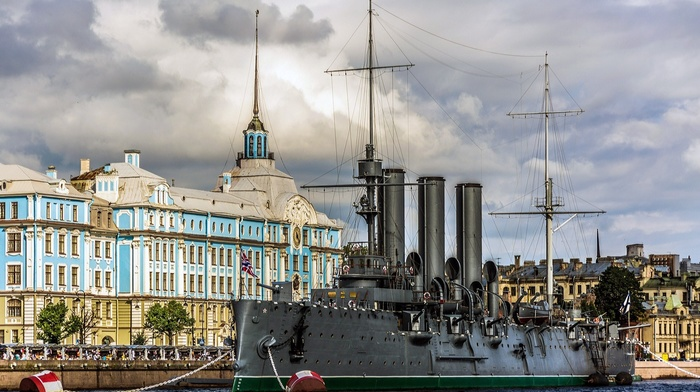 flag, window, cruise ship, Russia, Leningrad, chains, building, St. Petersburg, Aurora, trees, battleships, water, clouds, ship, shipyard, old building, city