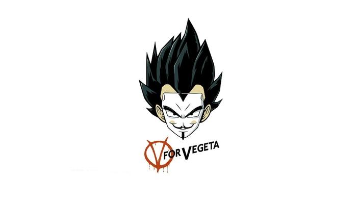 V for Vendetta, Dragon Ball Z, saiyan, Vegeta, Super Saiyan, fan art, parody