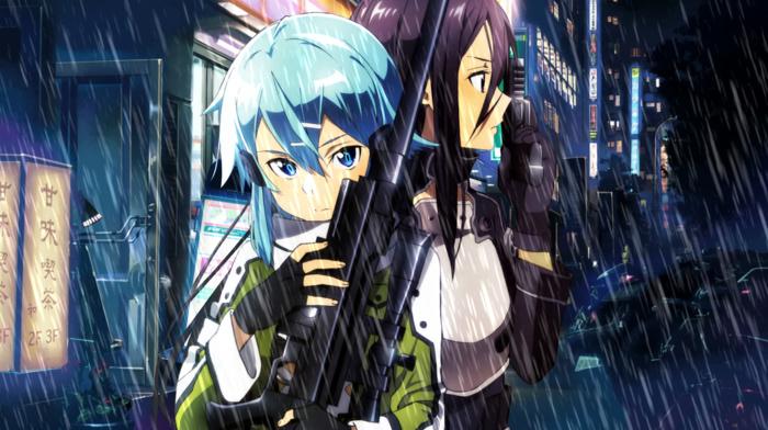 Asada Shino, sword art online, anime girls, Kirigaya Kazuto, anime, Gun Gale Online