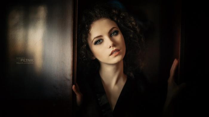 face, model, portrait, curly hair, girl, brunette