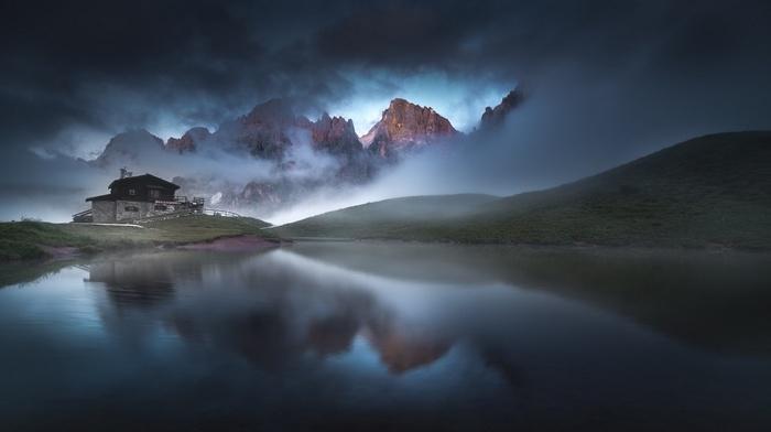 landscape, grass, summer, mountain, nature, clouds, lake, cabin, sunrise, mist, Italy