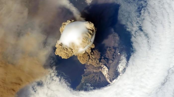 clear sky, sea, volcanic eruption, Earth, sky, space
