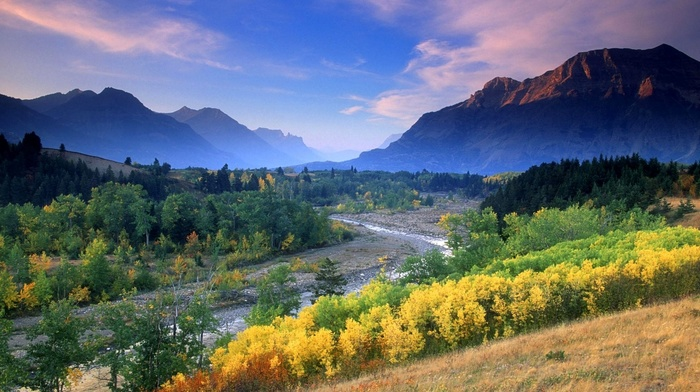 green, trees, forest, shrubs, clouds, river, blue, fall, mountain, sunset, yellow, nature, landscape, mist