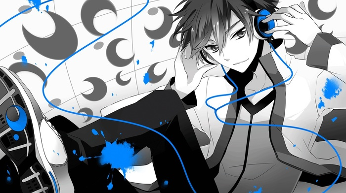 polychrome, anime, anime boys, Vocaloid, selective coloring, headphones, music, Kimiko