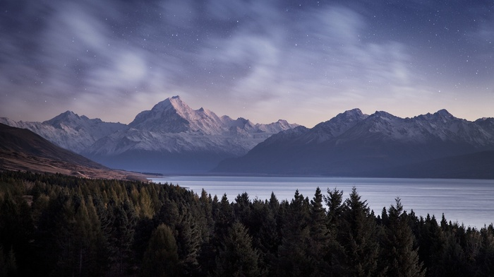 evening, forest, long exposure, hill, lake, snowy peak, clouds, stars, water, mountain, snow, nature, landscape, pine trees, trees