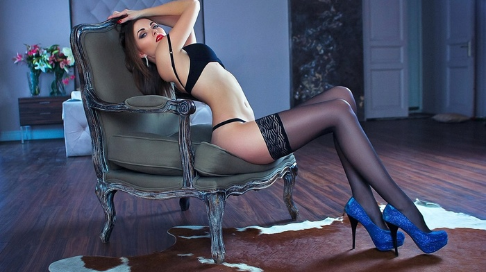 chair, flat belly, model, high heels, black lingerie, girl, stockings, black stockings, sitting