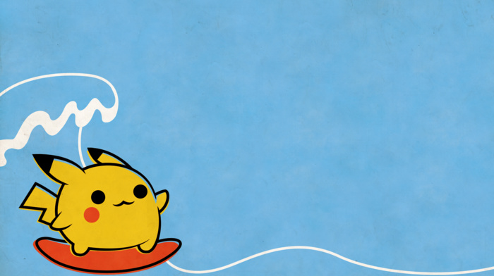 surfing, Pikachu, Pokemon, minimalism