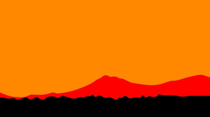 digital art, orange background, sunset, minimalism, orange, artwork, simple, landscape