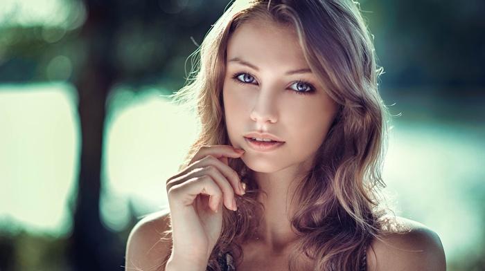 gray eyes, portrait, blonde, model, face, girl, girl outdoors