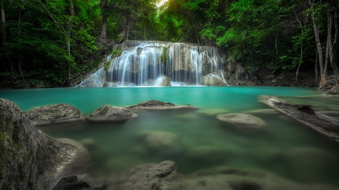 turquoise, nature, Thailand, waterfall, trees, tropical, green, pond, landscape, forest