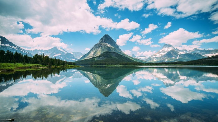 forest, lake, mountain, clouds, snowy peak, Montana, Glacier National Park, nature, reflection, landscape