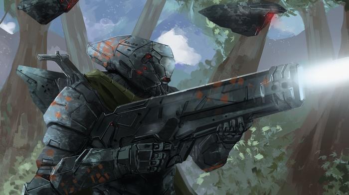 science fiction, futuristic armor, artwork, futuristic, shooting