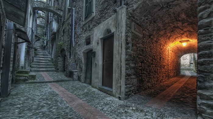 old building, stairs, urban, lights, door, street, architecture, arch, town, stones, house