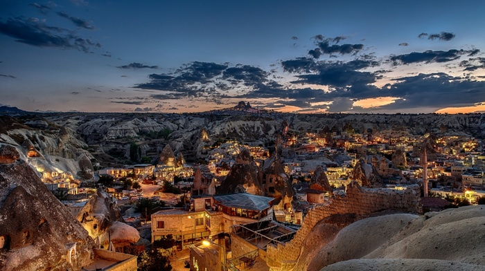lights, mosques, Turkey, rock, stones, sunset, trees, landscape, town, village, clouds, nature, house, mountain