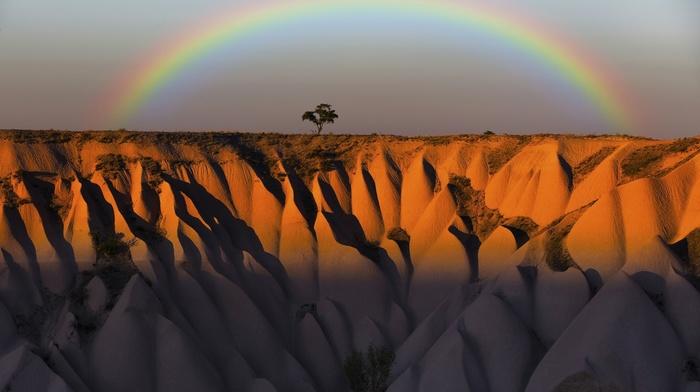 rainbows, horizon, Turkey, nature, landscape, trees, grass, shadow, mountain, colorful, rock