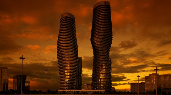 street light, skyscraper, urban, clouds, Mississauga, window, modern, building, evening, town square, Ontario, cityscape, Canada, reflection, city, architecture, sunset