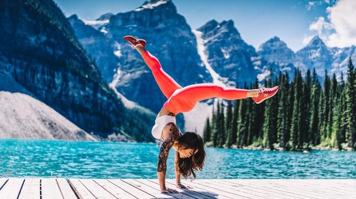 nature, yoga pants, girl, yoga, wooden surface, tattoo, mountain