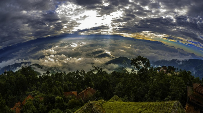 mountain, panoramas, landscape, clouds, sky, sun rays, trees, Nepal, rooftops, nature, sunrise