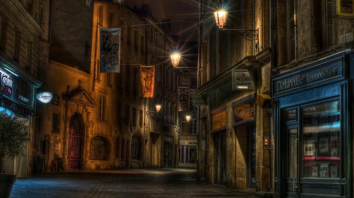 city, building, lights, urban, architecture, street, night, empty