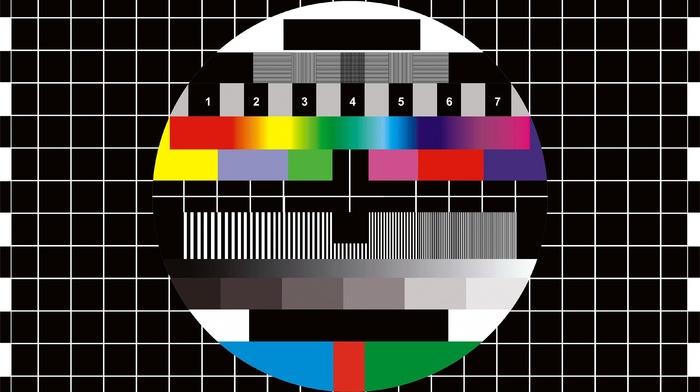 colorful, test patterns, digital art, numbers, grid, circle, monoscope, lines, TV, black background, square