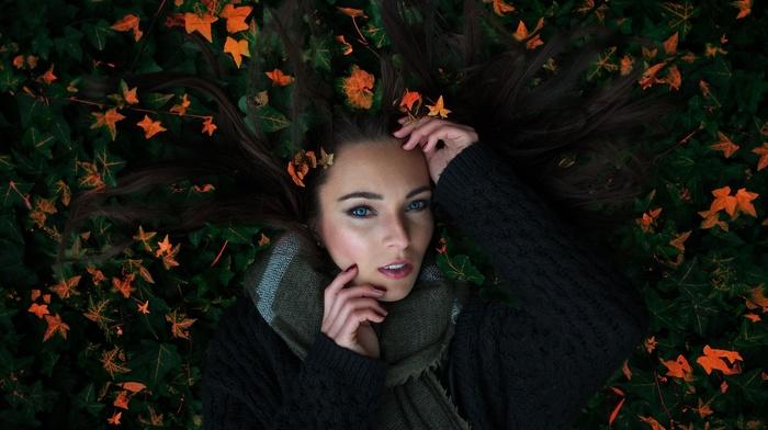 lying down, long hair, girl, leaves, nature, scarf, blue eyes