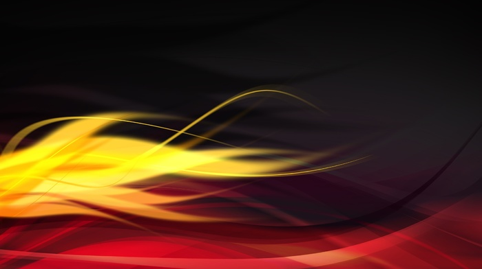 yellow, abstract, wavy lines, red, graphic design