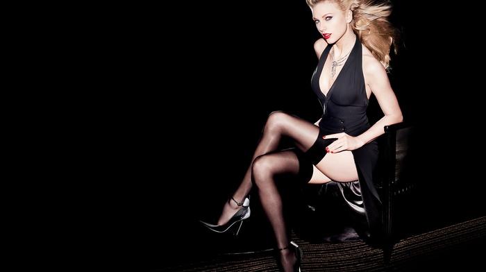 black dress, singer, high heels, blonde, stockings, Taylor Swift, no bra